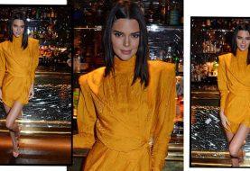 Kendall Jenner glüht bei der Late-Night-Party in London in orangefarbenem Schlangenhaut-Print-Kleid