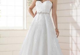 Tee Länge Brautkleid mit dezentem Schimmer