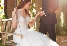 Beaded Strap Wedding Dress with Full Textured Skirt