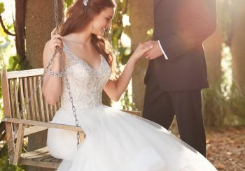 Beaded Strap Wedding Dress with Full Textured Skirt