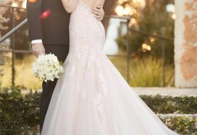 Fit and flare wedding dress with low-cut back