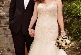 Fit und Flare plus size Brautkleid mit Tüllrock