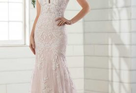 Lace Fit-and-Flare Wedding Gown with Open Back
