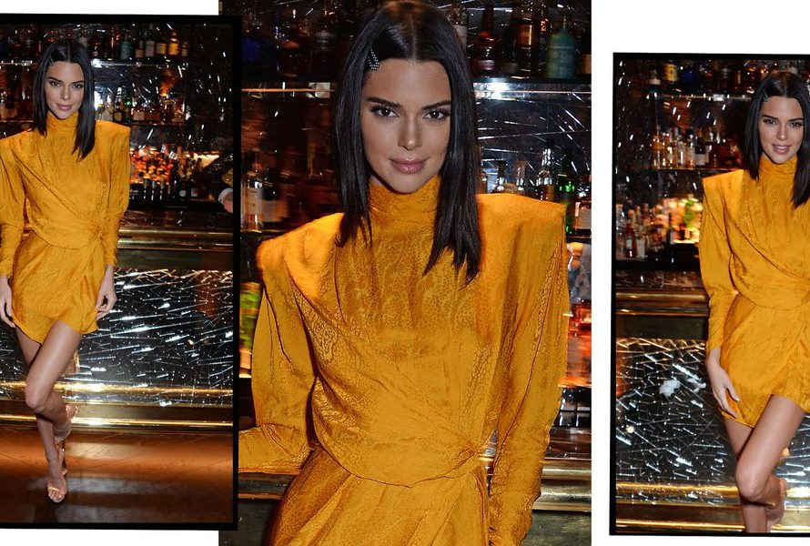 Kendall Jenner glüht bei der Late-Night-Party in London in orangefarbenem Schlangenhaut-Print-Kleid