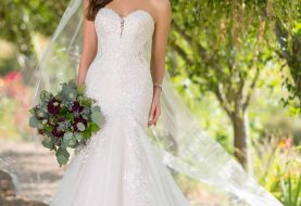 Shimmering Fit and Flare Wedding Dress with Sequin