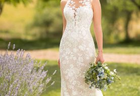 Graphic Lace Wedding Dress with Illusion High Neckline