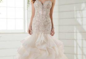 Perlen Brautkleid mit strukturiertem Rock